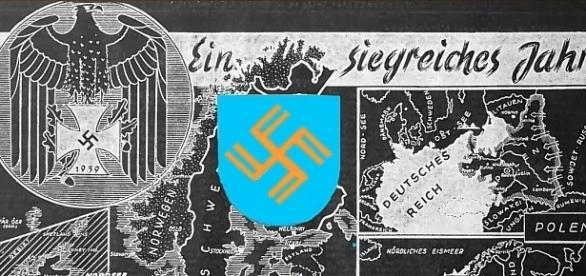 """Ein Bild aus der """"Litzmannstaedter Zeitung"""" (1940) und das Wappen von Litzmannstadt. Public domain"""