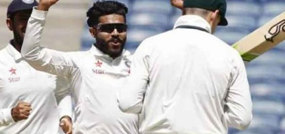 Jadega of India after taking Steve Smith wicket on day five of Ranchi test