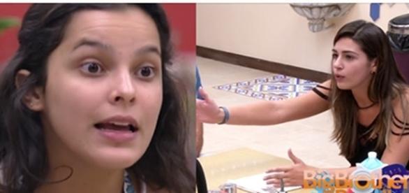 Emilly entra em conversa de Vivian e elas acabam discutindo. (Foto: Reprodução/TV Globo)