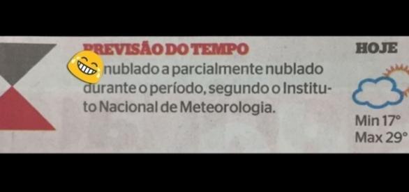 Palavrão não intencional estampou a previsão do tempo do Jornal Extra (Reprodução: Facebook)