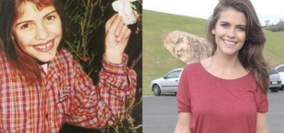 ''Antes e depois'' dos atores da novela Chiquititas. A atriz Elisa Veeck interpretou a personagem Fran. Reprodução/Twitter.