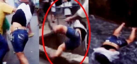 Homem espanca mulher e a joga em uma vala; vídeo
