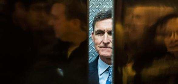 General Michael Flynn in Trump Tower elevator, 2016 / Photo by newyorker.com via Blasting News library
