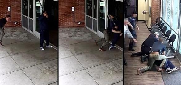 Homem descontrolado bate com taco de basebol em fachada de vidro de delegacia nos EUA.