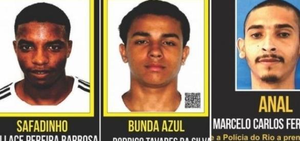 Bandidos procurados no Rio de Janeiro. Fonte Portal dos Procurados.