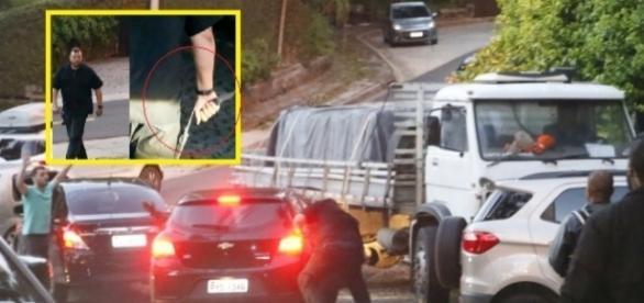 Segurança de Bieber se descontrola e ataca carro com fãs do cantor. Ele usava uma faca e chegou a furar os pneus do carro