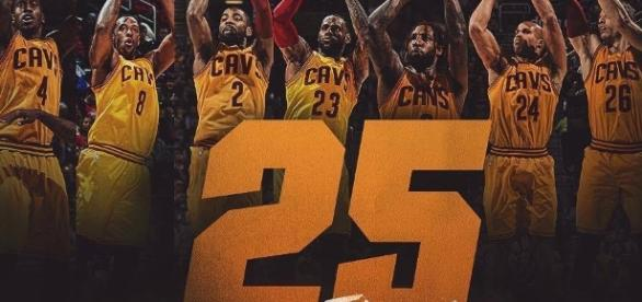 Cavs set NBA record with 25 threes. Pic via. Cavs.com