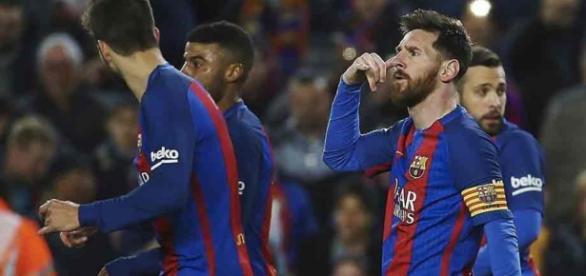 Leo Messi con su enigmático de la llamada, después de anotar su primer gol ante el Celta de Vigo