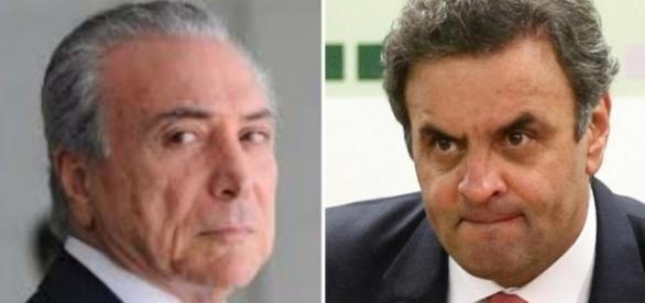 Presidente Michel Temer e senador Aécio Neves