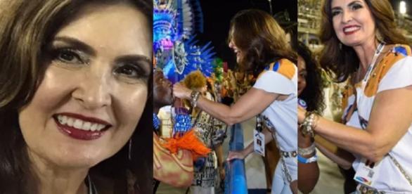 Fátima Bernardes celebra a solteirice e ganha beijo de homem misterioso na Sapucaí
