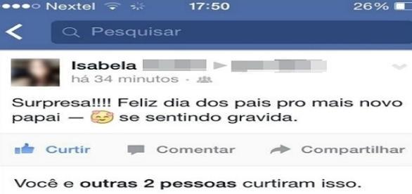 Namorada surpreende jovem ao dizer que está grávida pelo Facebook