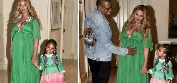 Beyoncé e Jay Z com a filha Blue Ivy