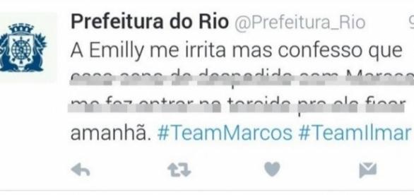 Conta da Prefeitura do Rio no Twitter publicou mensagem em apoio a Emilly