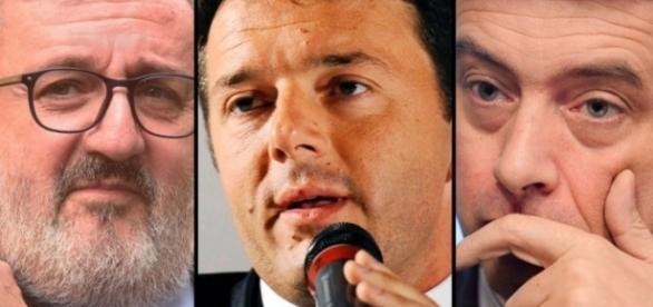 I tre candidati alle primarie Pd, Emiliano, Renzi e Orlando