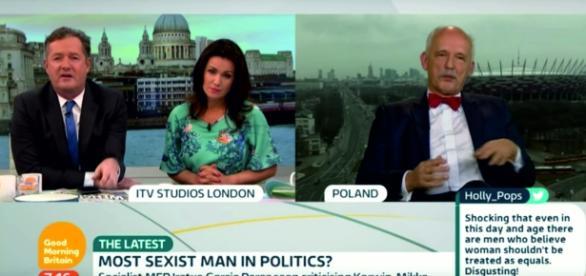 """Janusz Korwin-Mikke w brytyjskim programie """"Good Morning Britain"""" (scrn YT)"""