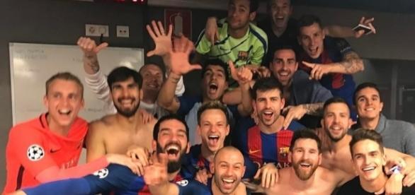 La celebración del Barcelona luego de la gran remontada contra el PSG (Vía Twitter Neymar Jr.)
