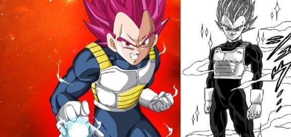Vegeta en Super Saiyajin God en el manga
