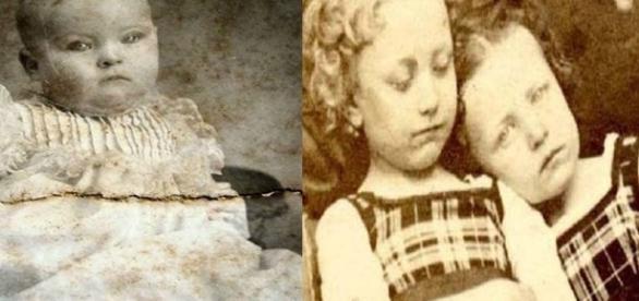 Duas fotos, tristes, de crianças mortas.