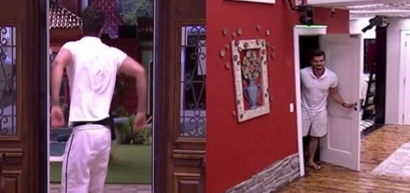 Marcos debocha após conversa no confessionário. (foto: reprodução TV Globo)