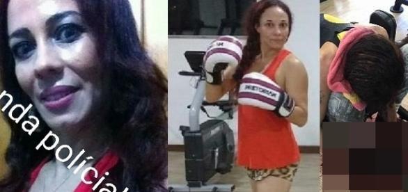 Na imagem a jovem e o corpo caído, ao lado a academia em que a mesma praticava atividades físicas.
