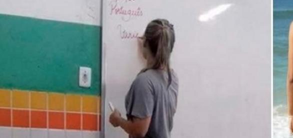 Essa professora deixa toda a sala em silêncio quase escreve no quadro