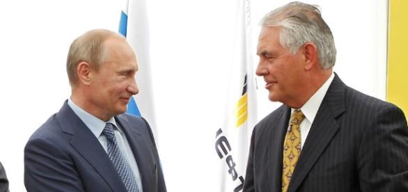 Rex Tillerson and Vladimir Putin. Image via Newsweek.com