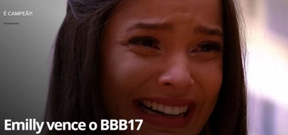 Emilly venceu o BBB 17, mas não foi recebida por Marcos (Foto: Reprodução)