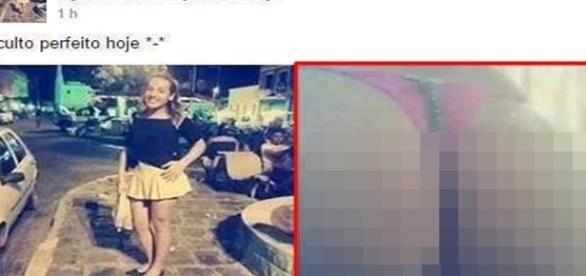 Imagem que a jovem postou, com um certo desfoque.