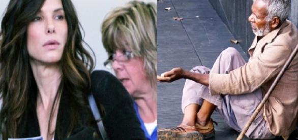 Sem ninguém ver, Sandra ajuda homem faminto