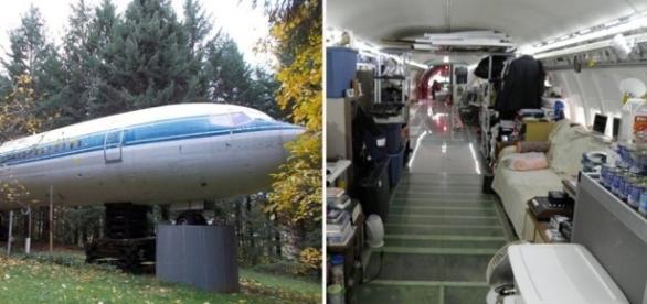 Através de uma sucata antiga de um Boeing, ele construiu uma linda casa