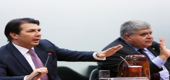 Deputados Arthur Maia e Carlos Marun durante comissão especial da Câmara responsável pela reforma da Previdência