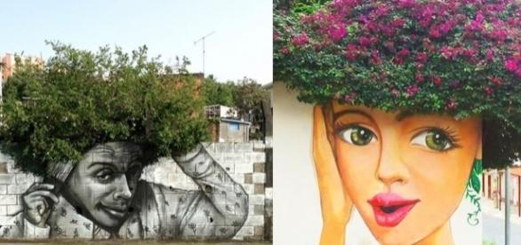 Desenhos de rua valorizando a natureza