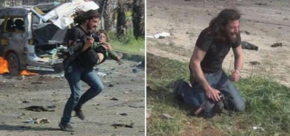 Abd Alkader Habak socorre garoto, mas colapsa ao ver criança morta em atentado na Síria