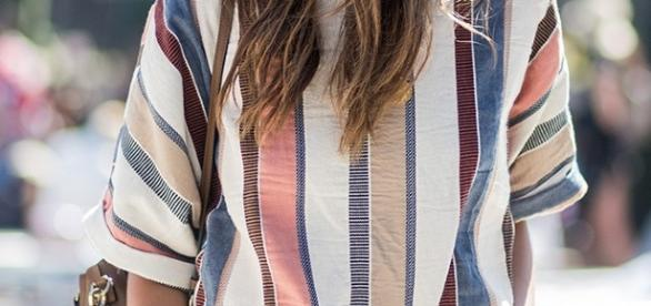 Julie Sarinana (Sincerely Jules. Via: dailymail.co.uk) wearing statement stripes at Coachella 2017.
