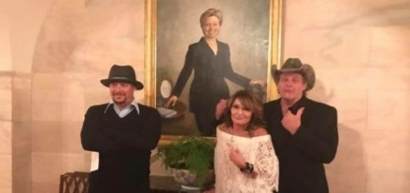 Sarah Palin, Kid Rock, Ted Nugent at White House, via Twitter