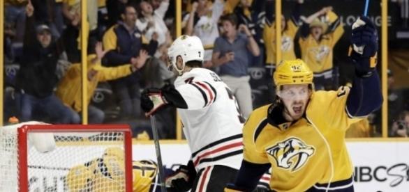 Ryan Johansen tuvo una de sus mejores series como Pred vs los Blackhawks. The Star.com.