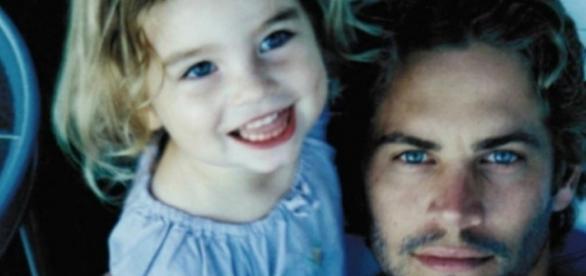 Paul Walker com a filha Meadow, em criança