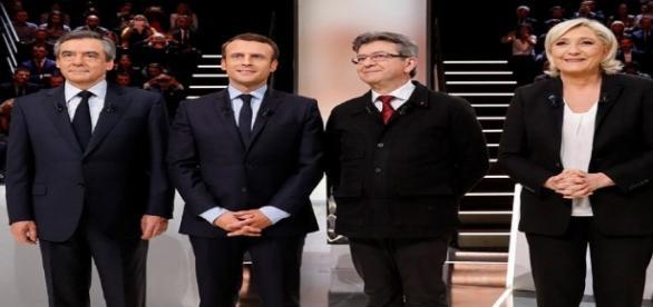 Da esquerda pra direita, os candidatos Francois Fillon, Emmanuel Macron, Jean-Luc Melenchon e Marine Le Pen.