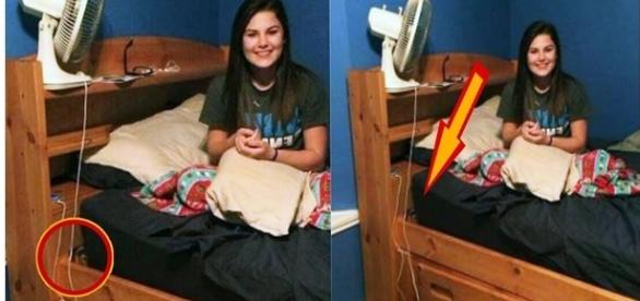 Foto assustadora, com suposto rapaz debaixo da cama.