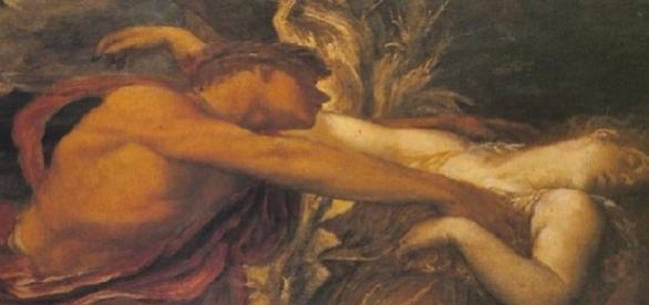 Pintura representando Orfeu e Eurídice, o seu grande amor