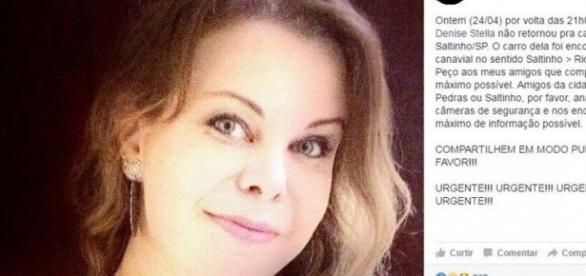 Denise Stella foi morta pelo amante por causa da gravidez