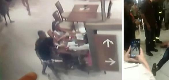 Nas imagens o homem que foi atingido, e a praça de alimentação onde os disparos aconteceram. (Reprodução/Arquivo Pessoal).
