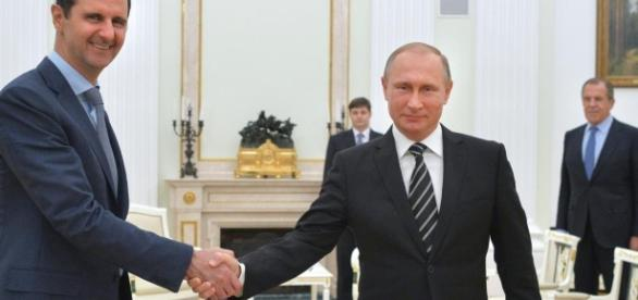 Presidente sírio Bashar al-Assad e presidente Russo Vladimir Putin