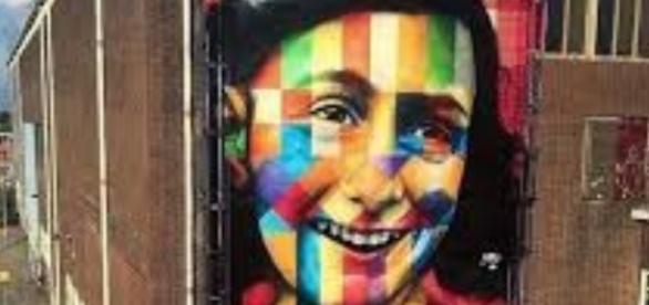 Eduardo Kobra mural of Anne Frank on façade of Amsterdam's future street art museum FAIR USE pinterest.com Creative Commons