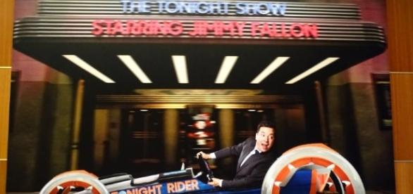 Jimmy Fallon challenges guests in the Tonight Rider. (Photo by Barb Nefer)