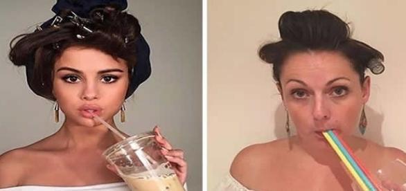Mulher recria fotos de famosos de maneira bem-humorada