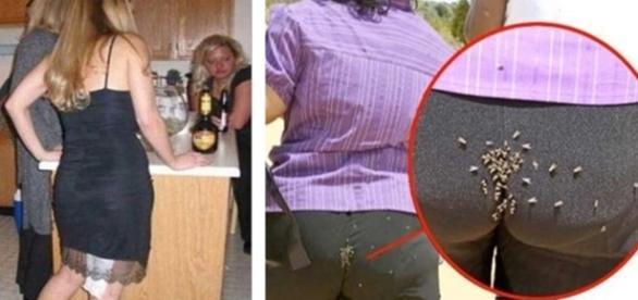 Duas imagens constrangedoras com mulheres