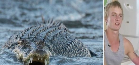 Esse australiano escapou por pouco em ser devorado por um crocodilo.