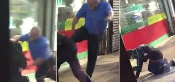 Na imagem o momento em que o motorista chuta o homem que estava importunando o idoso. (Reprodução/Facebook/Arquivo Pessoal).