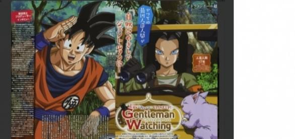 A screenshot Son Goku and Android 17.